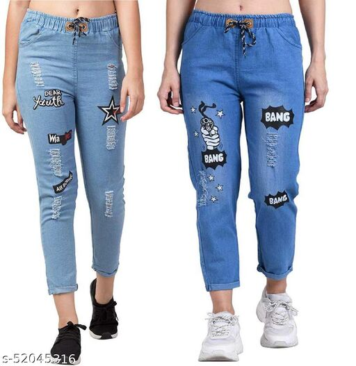 Women Denim Jeans Jogger Elastic Waist Drawstring Stretch Side Pockets Star Light and Bang Light Casual Jeans  Pack Of 2