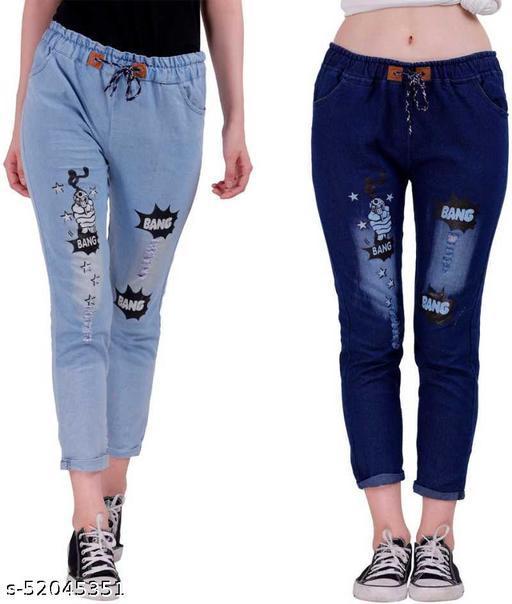 Women Denim Jeans Jogger Elastic Waist Drawstring Stretch Side Pockets Bang Light + Dark Blue Casual Jeans  Pack Of 2