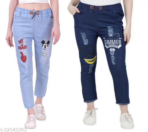 Women Denim Jeans Jogger Elastic Waist Drawstring Stretch Side Pockets Mickey Light and Summer Dark Blue Casual Jeans  Pack Of 2