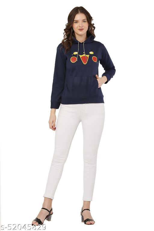 Navy Blue Color Casual Pullover Hoodie Jacket