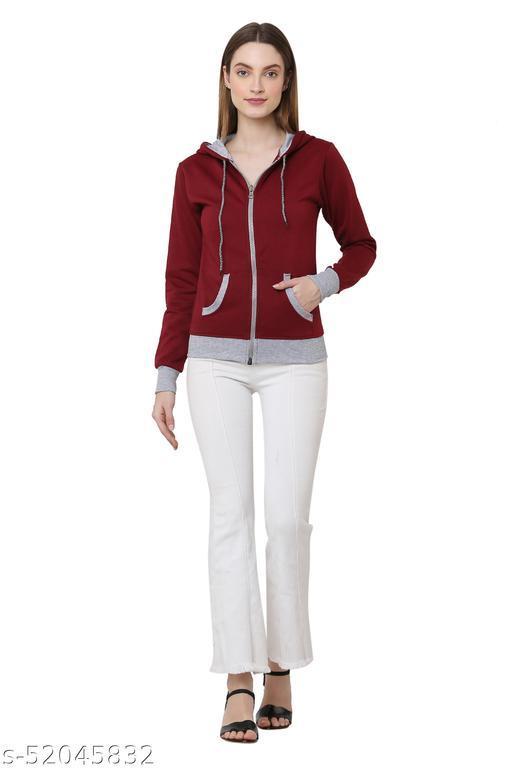 Maroon Color Casual Zipper Hoodie Jacket