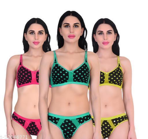 Xbye Women Polka Print Multicolor Lingerie set Non Padded (Pack of 3)