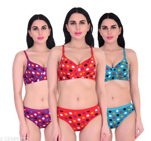 Xbye Women Polka Dot  Multicolor Lingerie set Padded (Pack of 3)