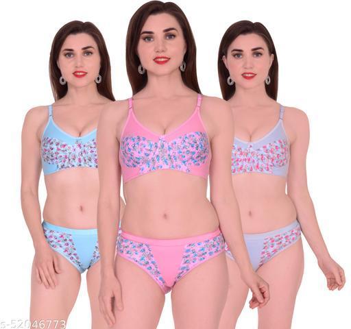 Xbye Women Floral Multicolor Art Silk Lingerie Set Non Padded (Pack of 3)