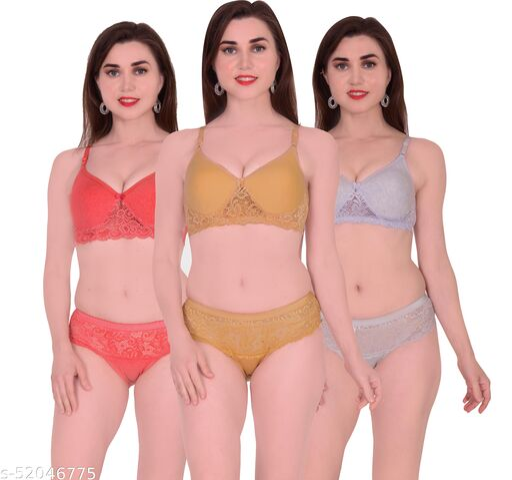 Xbye Women Solid  Multicolor Lingerie set Padded (Pack of 3)