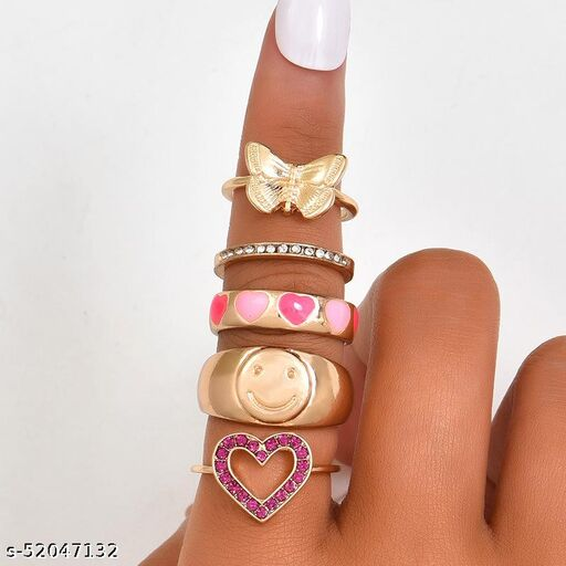 Arzonai Fashion and popular Chinese style gossip dripping oil color smiley love new women's ring set