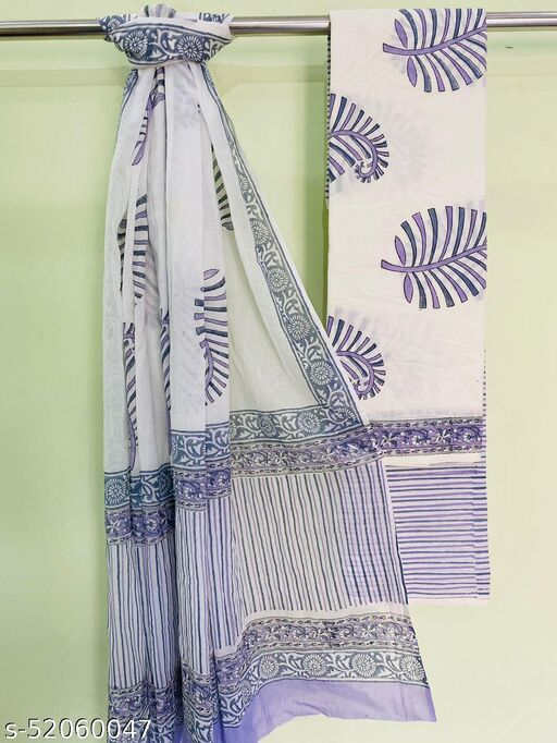 Cotton Suits Traditional  Hand Blocks Printed Natural Colours With Cotton Mulmul Dupattta