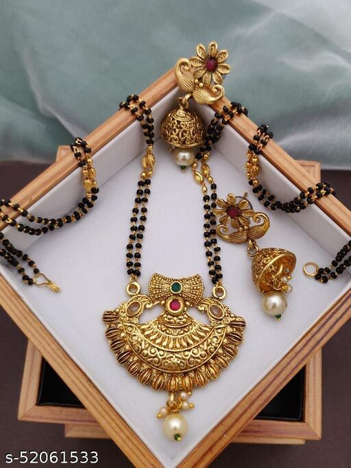 SGC Gold Plated Mangalsutra With matte Finished 24 Inches long For women with Earrings Set