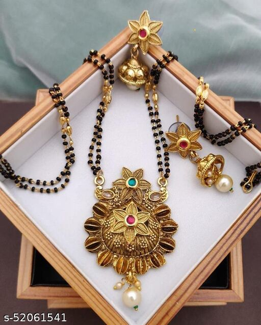SGC Gold Plated Mangalsutra With American Diamond 18 Inches long For women