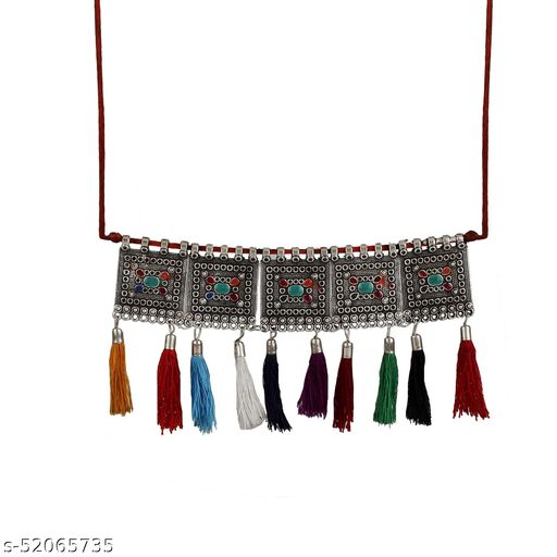 Zooniv Afghani Style Silver Oxidised Choker Necklace Jewellery For Women & Girls
