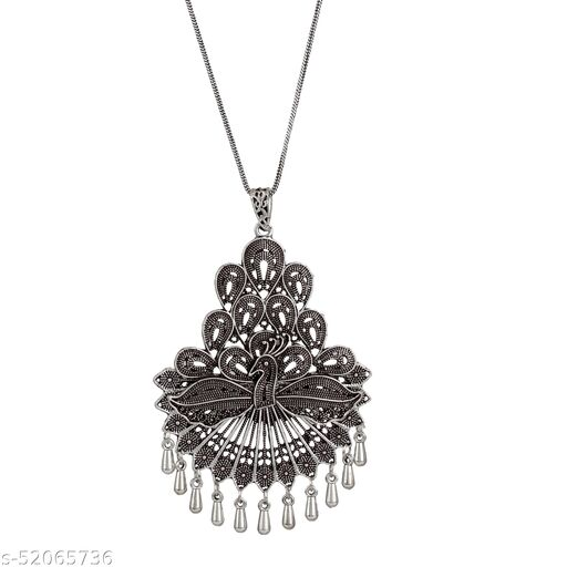 Zooniv Oxidised Silver Peacock Pendant Chain Necklace Jewellery For Women