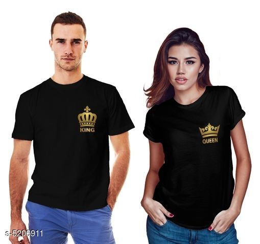 Tshirts  Stylish Printed Couple T-shirts  *Fabric* Men  *Sleeves* Half Sleeves Are Included  *Size* Women  *Length* Women  *Type* Stitched  *Description* It Has 1 Piece Of Couple T-Shirts For Men & 1 T -shirt For Women .  *Work* Printed  *Sizes Available* MEN - S/ WOMEN - S, MEN - M/ WOMEN - S, MEN - L/ WOMEN - S, MEN - XL/ WOMEN - S, MEN - XXL/ WOMEN - S, MEN - S/ WOMEN - M, MEN - M/ WOMEN - M, MEN - L/ WOMEN - M, MEN - XL/ WOMEN - M, MEN - XXL/ WOMEN - M, MEN - S/ WOMEN - L, MEN - M/ WOMEN - L, MEN - L/ WOMEN - L, MEN - XL/ WOMEN - L, MEN - XXL/ WOMEN - L, MEN - S/ WOMEN - XL, MEN - M/ WOMEN - XL, MEN - L/ WOMEN - XL, MEN - XL/ WOMEN - XL, MEN - XXL/ WOMEN - XL, MEN - S/ WOMEN - XXL, MEN - M/ WOMEN - XXL, MEN - L/ WOMEN - XXL, MEN - XL/ WOMEN - XXL, MEN - XXL/ WOMEN - XXL *    Catalog Name:  Stylish Printed Couple T-shirts CatalogID_770507 C70-SC1205 Code: 175-5206911-