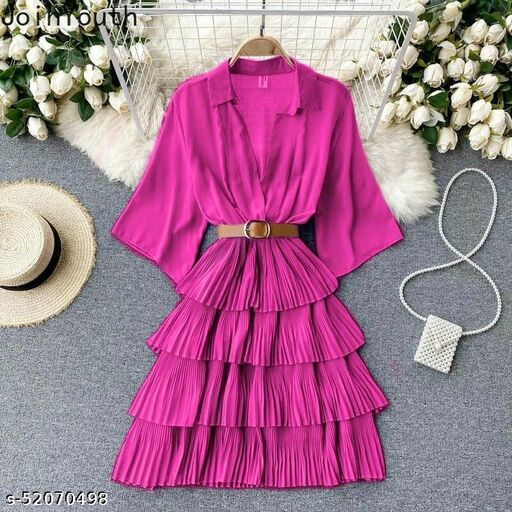 Cascading ruffles belt layered midi by High-Buy ( one size upto M)(free size for xxs/xs/s/m)- pink Dresses