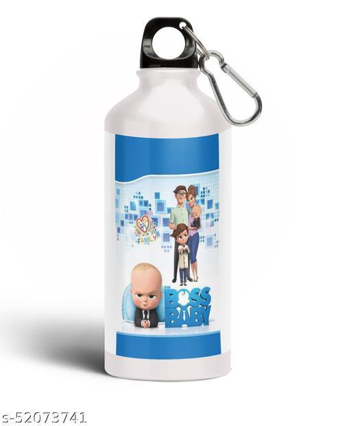 PARTY GLITERS BABY BOSS Printed Aluminium 600ml White Sipper Bottle/Water Bottle for Kids share Smile- Best Birthday Gift for Boys, Girls, Kids, Return Gift - BOSS-46