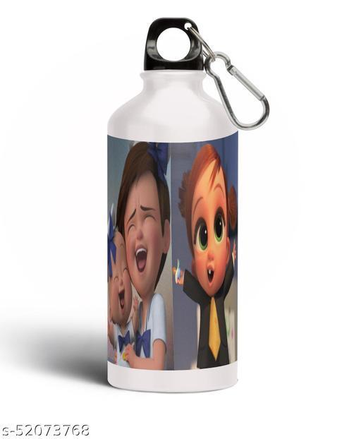PARTY GLITERS BABY BOSS Printed Aluminium 600ml White Sipper Bottle/Water Bottle for Kids share Smile- Best Birthday Gift for Boys, Girls, Kids, Return Gift - BOSS-51