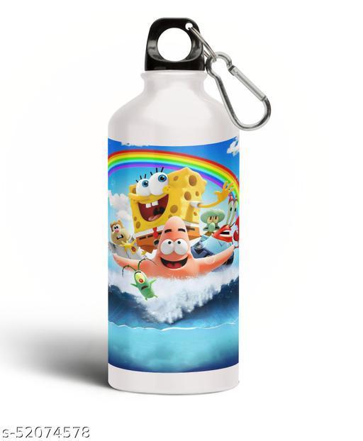 PARTY GLITERS SPONGEBOB Printed Aluminium 600ml White Sipper Bottle/Water Bottle for Kids share Smile- Best Birthday Gift for Boys, Girls, Kids, Return Gift -SPOG-27