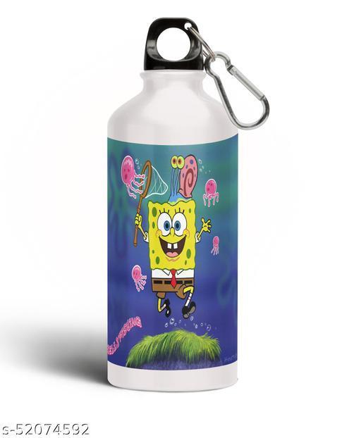 PARTY GLITERS SPONGEBOB Printed Aluminium 600ml White Sipper Bottle/Water Bottle for Kids share Smile- Best Birthday Gift for Boys, Girls, Kids, Return Gift -SPOG-45