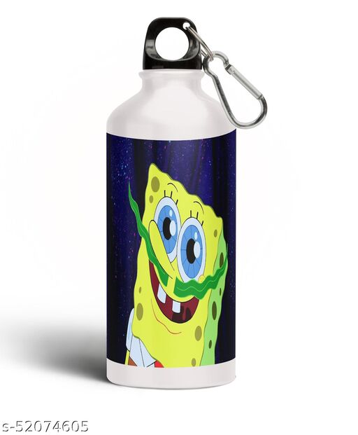 PARTY GLITERS SPONGEBOB Printed Aluminium 600ml White Sipper Bottle/Water Bottle for Kids share Smile- Best Birthday Gift for Boys, Girls, Kids, Return Gift -SPOG-59