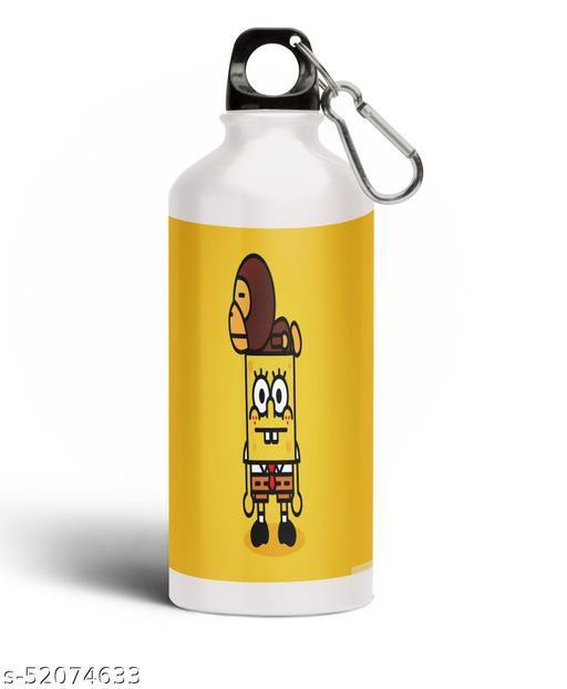 PARTY GLITERS SPONGEBOB Printed Aluminium 600ml White Sipper Bottle/Water Bottle for Kids share Smile- Best Birthday Gift for Boys, Girls, Kids, Return Gift -SPOG-17