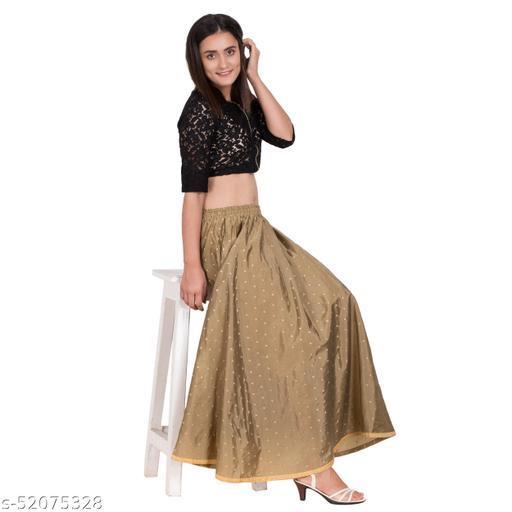 Brown Color Zari Woven Skirt
