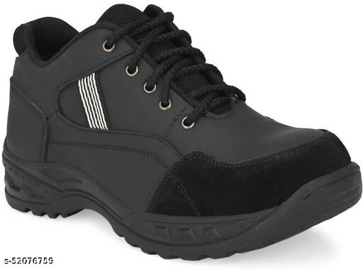 Ozarro Black Genuine Leather Steel Toe Safety Shoe (S4424)