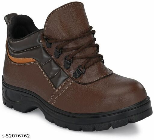 Ozarro Brown Leather Steel Toe Safety Shoes (S4421)