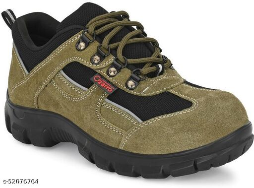 Ozarro Olive Suede Leather Steel Toe Safety Shoe (S4423)