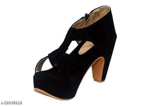 Ragle Footwear Women's Black Stylish Block 4 Inch High Heel Sandals