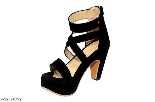 Shoogle Footwear Women's Black Stylish Block 4 Inch High Heel Sandals
