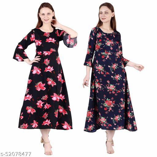 Heavens Creation A Line Dress with Inner Cotton Lining Black Pink Flower Printed and Nevy Blue Printed Pack of 2
