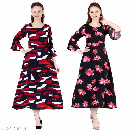 Heavens Creation A Line Dress with Inner Cotton Lining Abstract Print and Black Pink Flower Printed Pack of 2