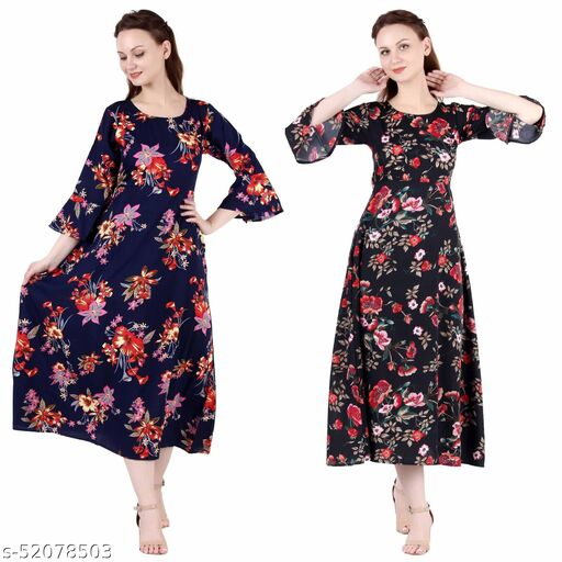 Heavens Creation A Line Dress with Inner Cotton Lining Nevy Printed and Black Printed Pack of 2