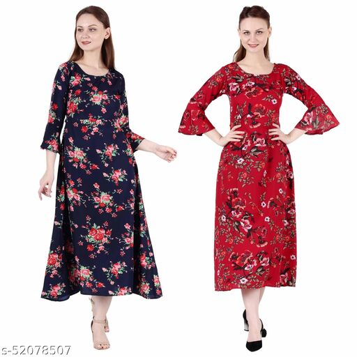 Heavens Creation A Line Dress with Inner Cotton Lining Nevy Blue Printed and Red Prined Pack of 2