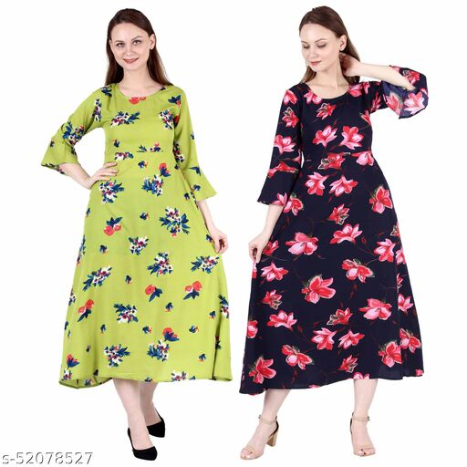 Heavens Creation A Line Dress with Inner Cotton Lining Light Green Printed and Blue Pink Flower Printed Pack of 2