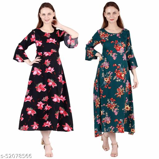 Heavens Creation A Line Dress with Inner Cotton Lining Black Pink Flower Printed and Dark Green Printed Pack of 2