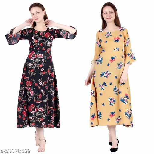 Heavens Creation A Line Dress with Inner Cotton Lining Black Printed and Mustard Printed Pack of 2