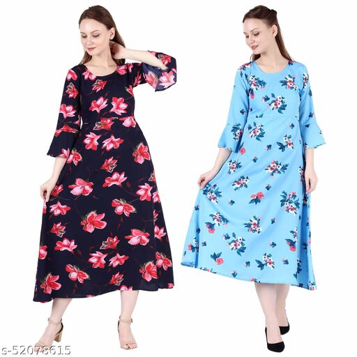 Heavens Creation A Line Dress with Inner Cotton Lining Blue Pink Flower Printed and Sky Blue Printed Pack of 2