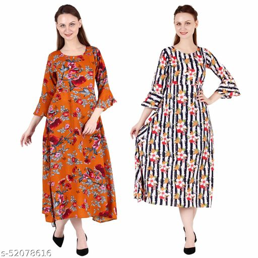 Heavens Creation A Line Dress with Inner Cotton Lining Orange Printed and Multi Prined Pack of 2