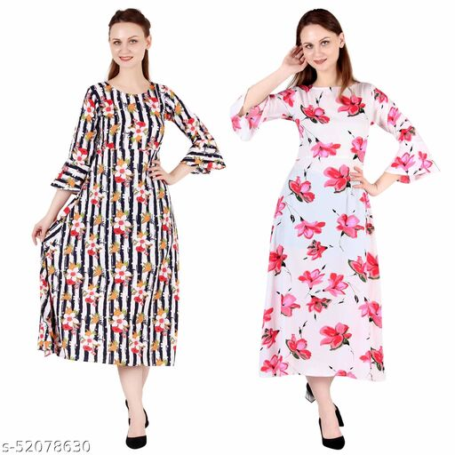 Heavens Creation A Line Dress with Inner Cotton Lining Multi Prined and White Printed Pack of 2