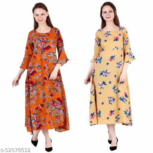 Heavens Creation A Line Dress with Inner Cotton Lining Orange Printed and Mustard Printed Pack of 2