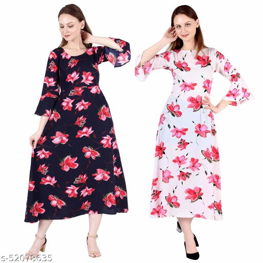 Heavens Creation A Line Dress with Inner Cotton Lining Blue Pink Flower Printed and White Printed Pack of 2