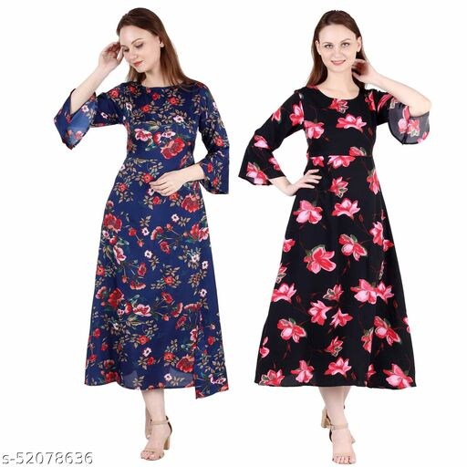 Heavens Creation A Line Dress with Inner Cotton Lining Dark Nevy Printed and Black Pink Flower Printed Pack of 2