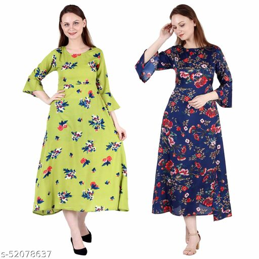 Heavens Creation A Line Dress with Inner Cotton Lining Light Green Printed and Dark Nevy Printed Pack of 2