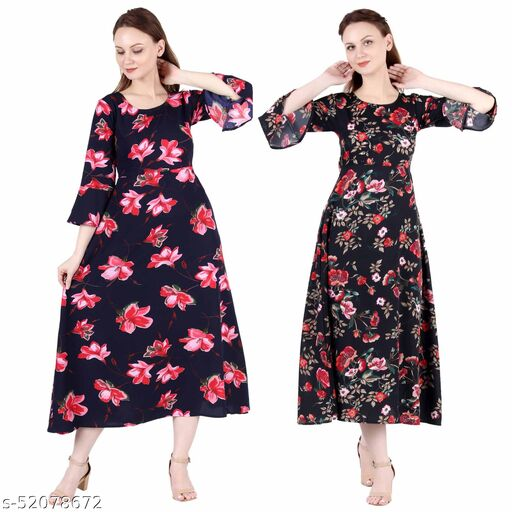 Heavens Creation A Line Dress with Inner Cotton Lining Blue Pink Flower Printed and Black Printed Pack of 2