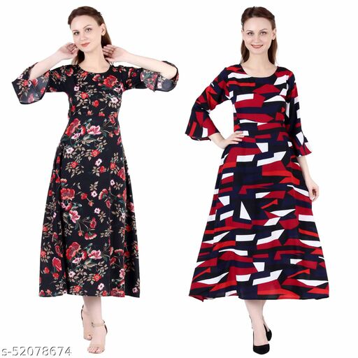 Heavens Creation A Line Dress with Inner Cotton Lining Black Printed and Abstract Print Pack of 2