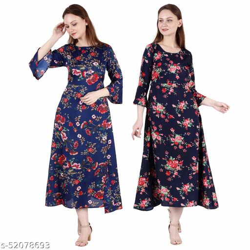 Heavens Creation A Line Dress with Inner Cotton Lining Dark Nevy Printed and Nevy Blue Printed Pack of 2