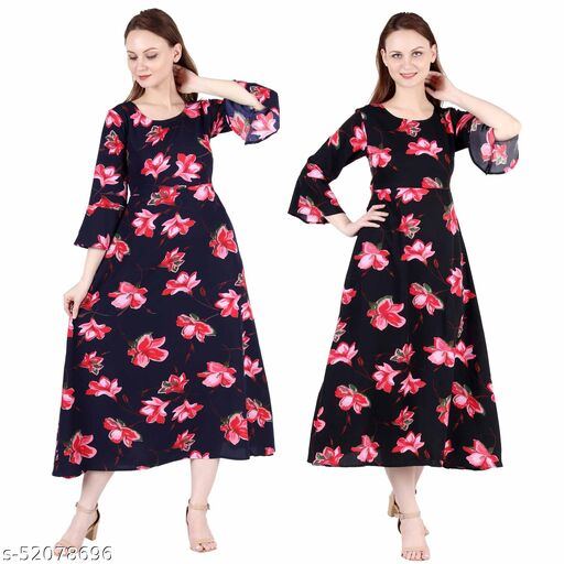 Heavens Creation A Line Dress with Inner Cotton Lining Blue Pink Flower Printed and Black Pink Flower Printed Pack of 2