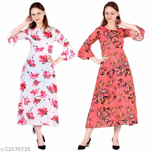 Heavens Creation A Line Dress with Inner Cotton Lining White Printed and Coral Printed Pack of 2