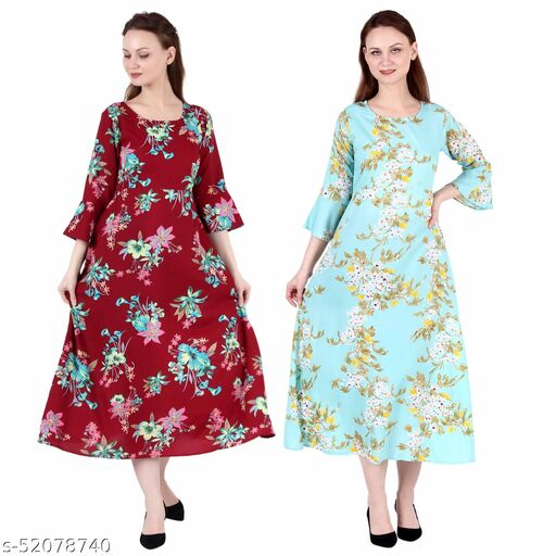 Heavens Creation A Line Dress with Inner Cotton Lining Maroon Prined and See Green Printed Pack of 2