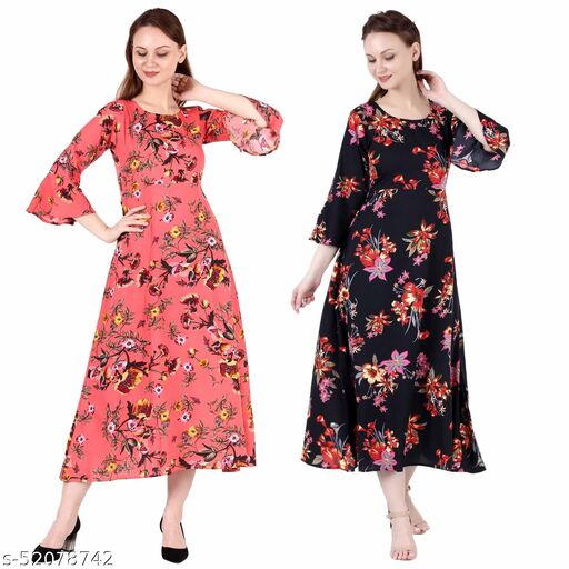 Heavens Creation A Line Dress with Inner Cotton Lining Coral Printed and Black Silver Pack of 2